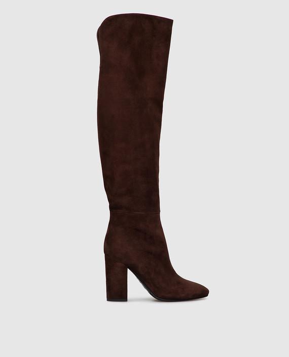 Темно-коричневые замшевые ботфорты