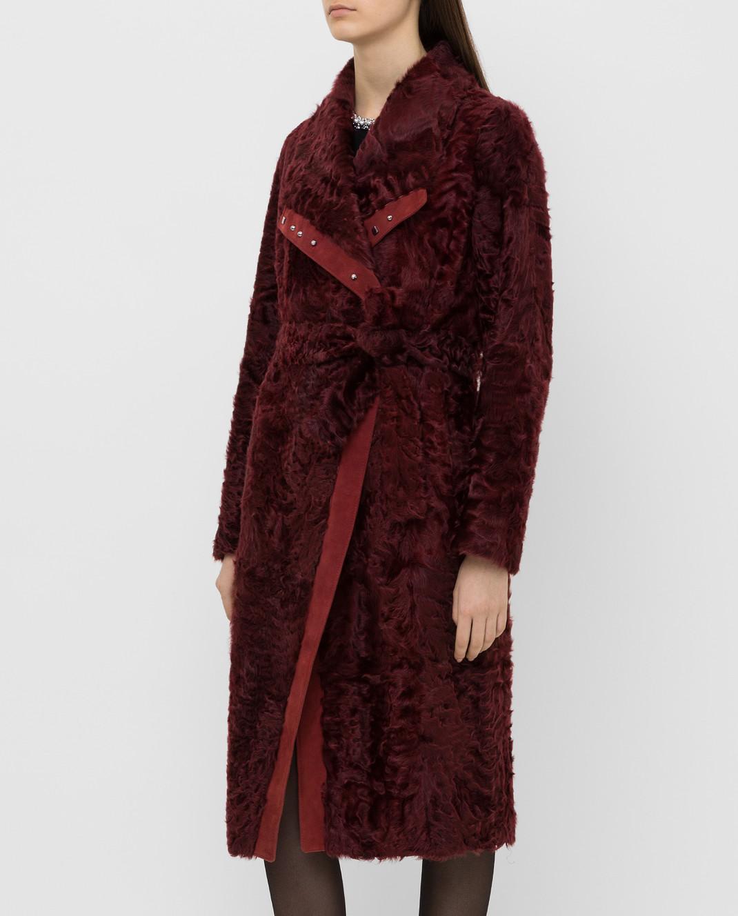Giuliana Teso Бордовая шуба из меха ягненка 64K6210 изображение 3