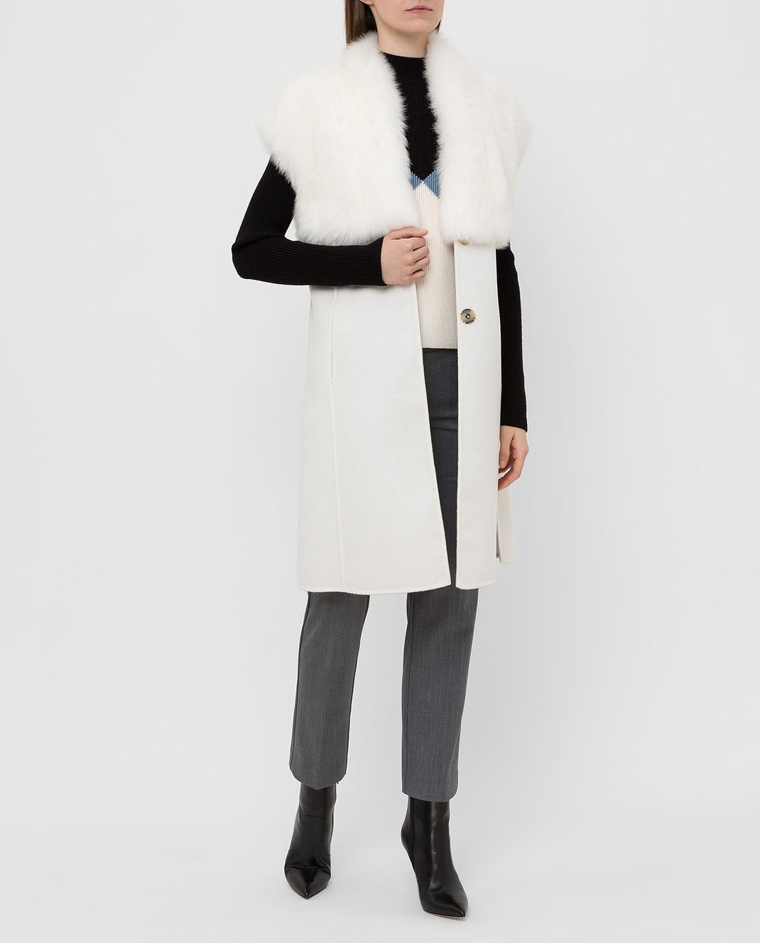 Rindi Светло-бежевое пальто из кашемира с мехом 426OR0R6BIANCO изображение 2