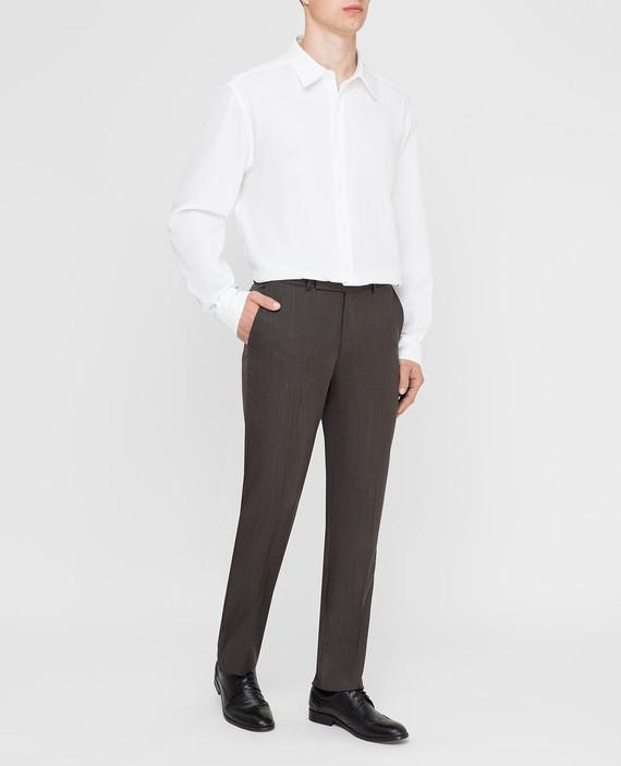 Темно-коричневые брюки из шерсти и шелка hover