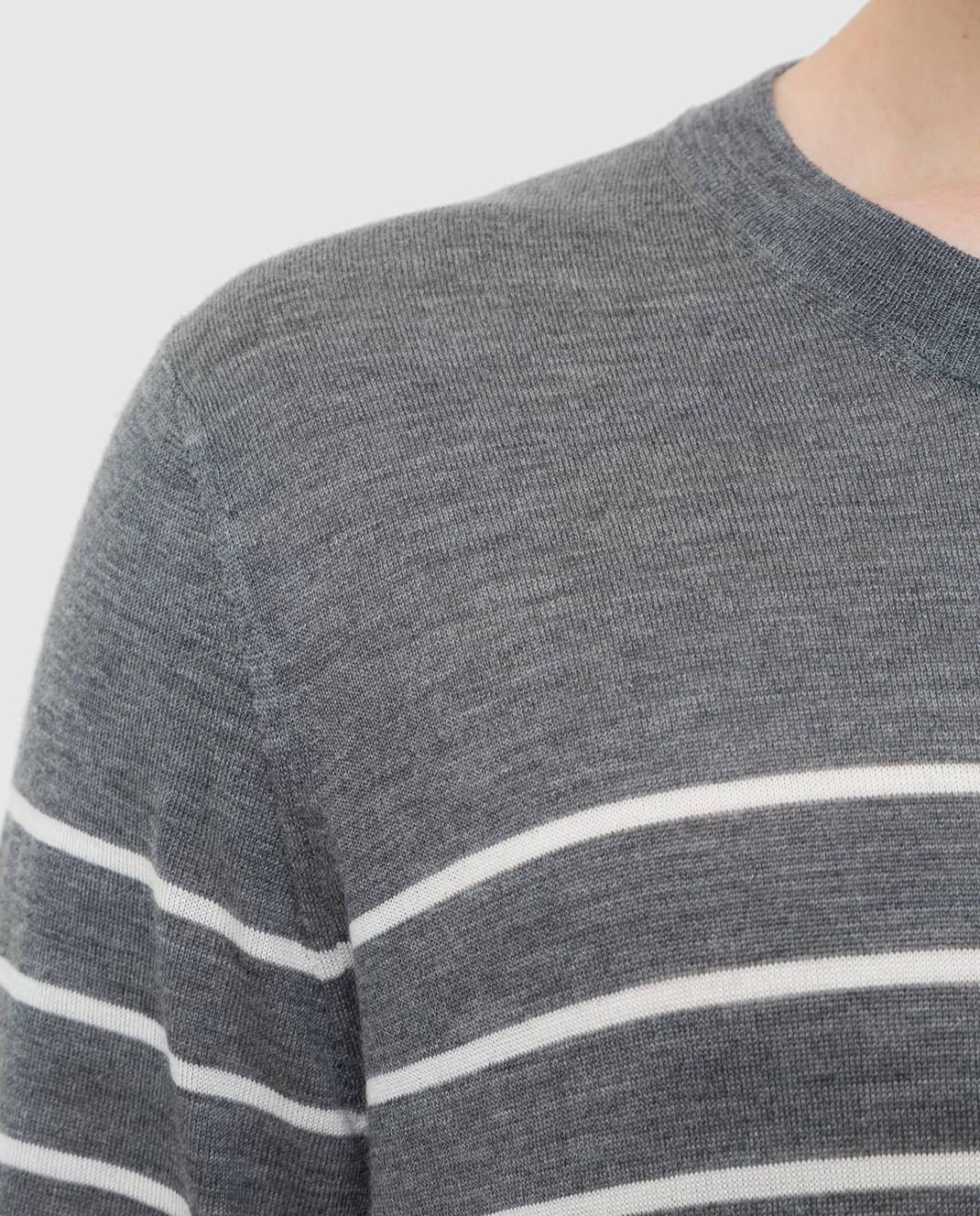 Brunello Cucinelli Серый джемпер из шерсти и кашемира M24802100 изображение 5