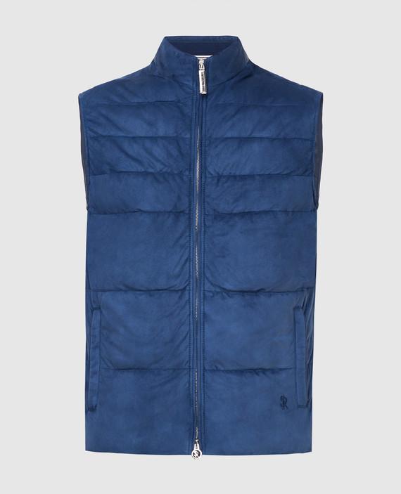 Темно-синий замшевый жилет