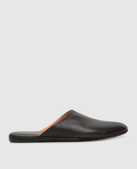 Темно-коричневые кожаные тапочки