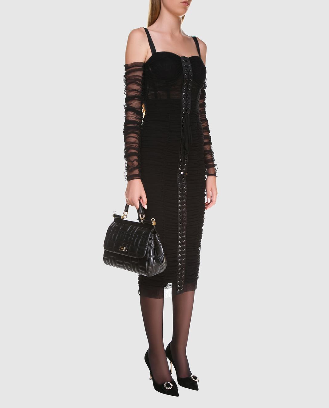 Dolce&Gabbana Черное платье F6A9QTFLEAA изображение 3