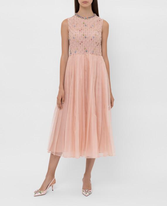 Пудровое платье из шелка с кристаллами hover