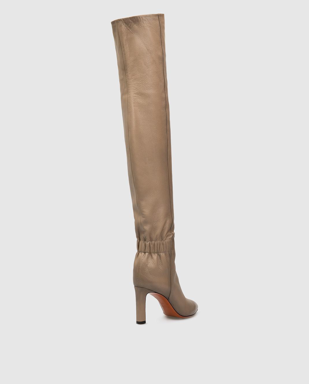 Santoni Бежевые кожаные ботфорты WSKK57445HI2CGHY изображение 4