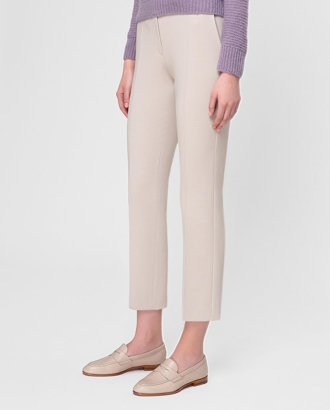 Max Mara Светло-бежевые брюки из шерсти OSTILE изображение 3