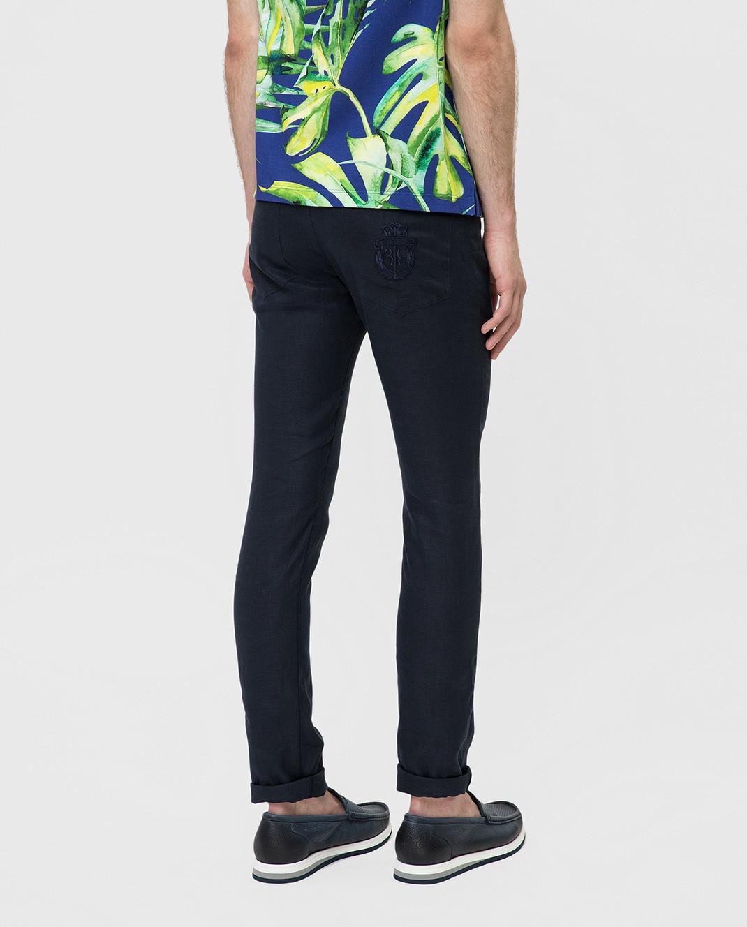 Billionaire Темно-синие брюки из льна MRT0546 изображение 4