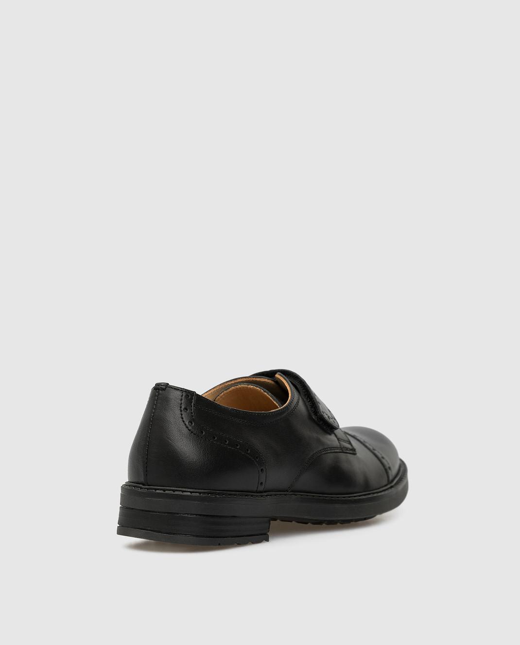 Zecchino D'oro Детские черные кожаные дерби M1575023640 изображение 3