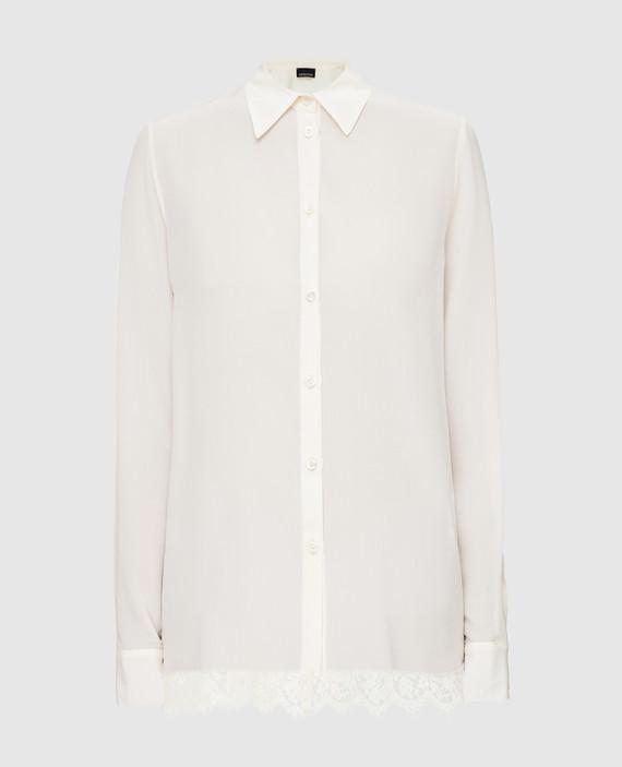 Белая рубашка из шелка с кружевом