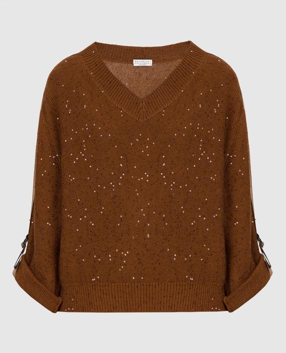 Коричневый пуловер из кашемира и шелка