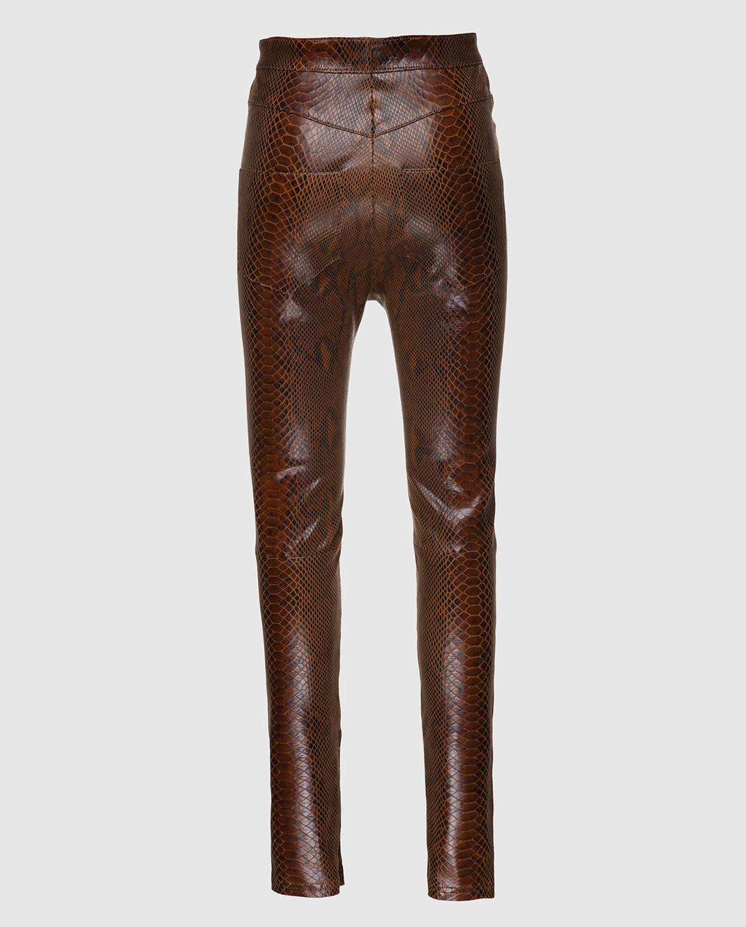 Balmain Коричневые кожаные брюки 115500 изображение 2