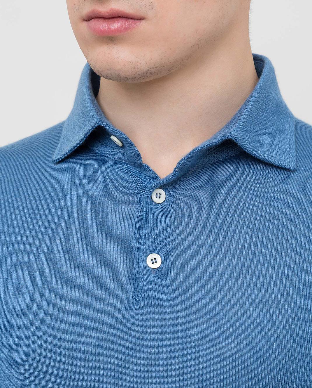 ISAIA Синее поло из кашемира и шелка MG7402YP002 изображение 5
