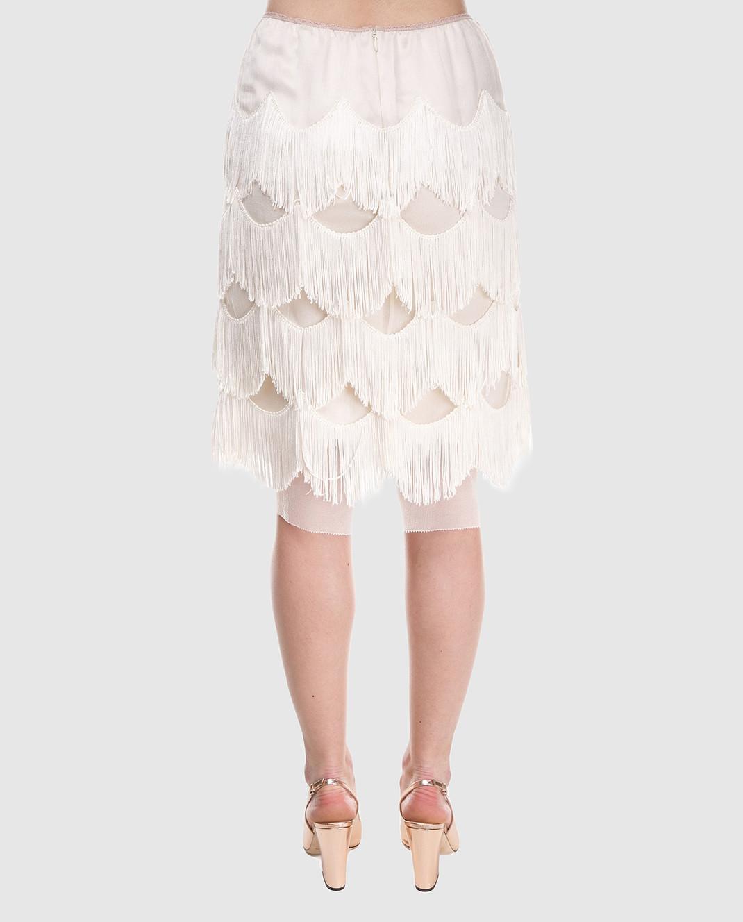 Marc Jacobs Бежевая юбка с бахромой изображение 4