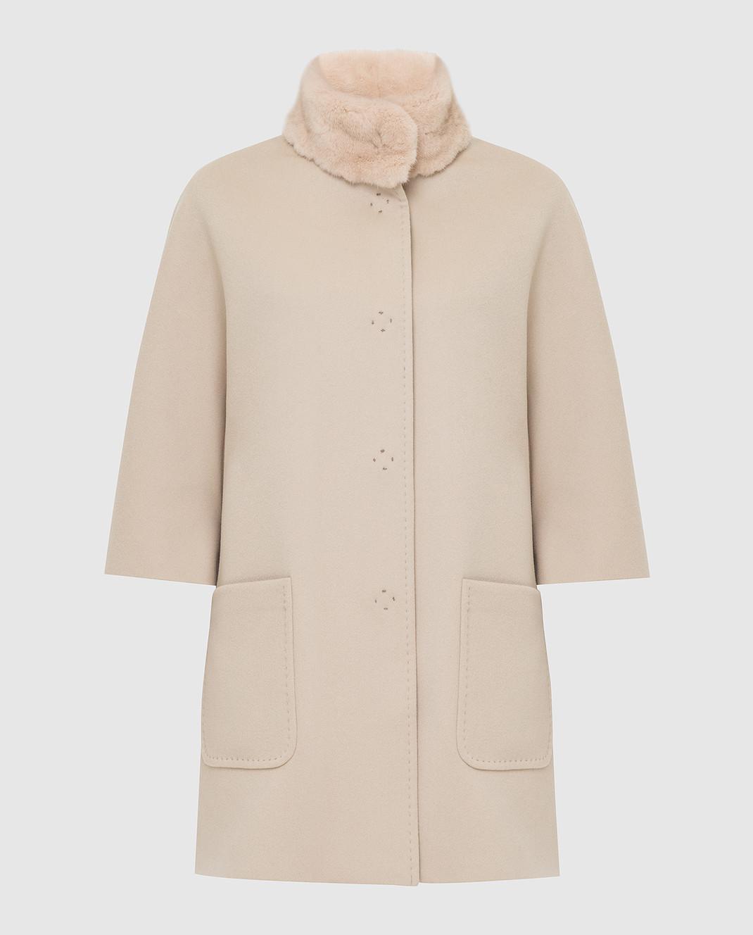 Светло-бежевое пальто из шерсти с мехом норки