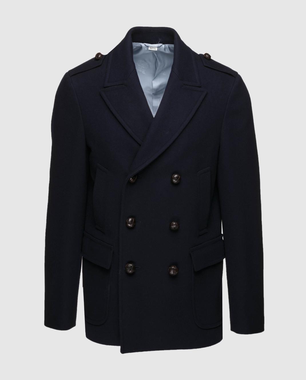 Gucci Темно-синее пальто из шерсти и кашемира 523628