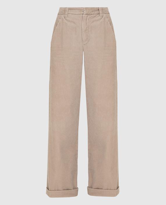 Светло-бежевые вельветовые брюки