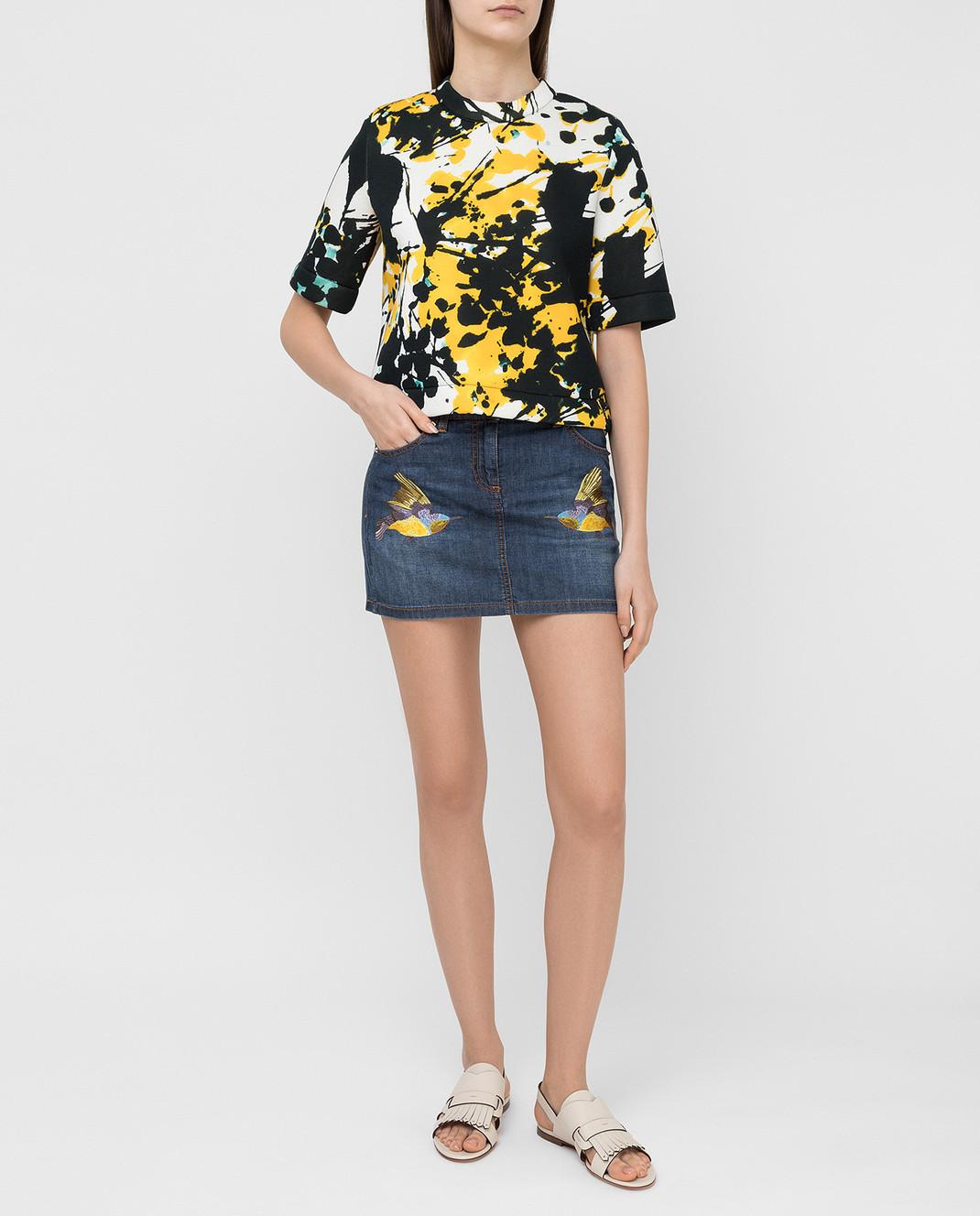 Roberto Cavalli Синяя джинсовая юбка CQJ320 изображение 2