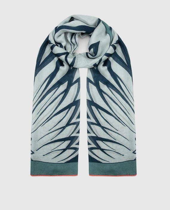 Голубой шарф из кашемира и шелка