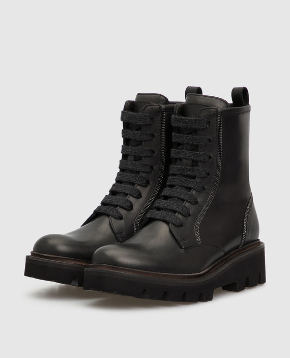 Детские черные кожаные ботинки hover