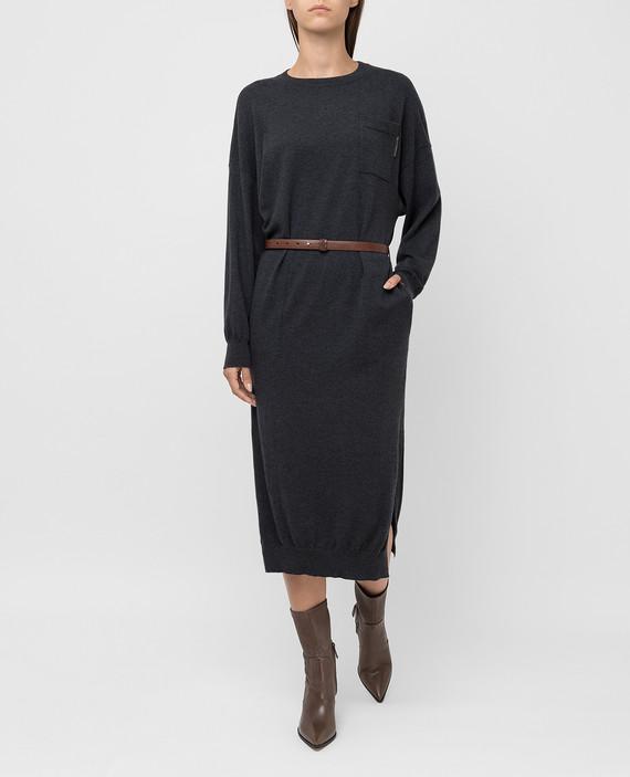 Темно-серое платье из кашемира hover