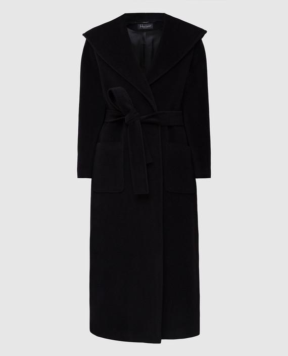 Черное пальто из шерсти и кашемира