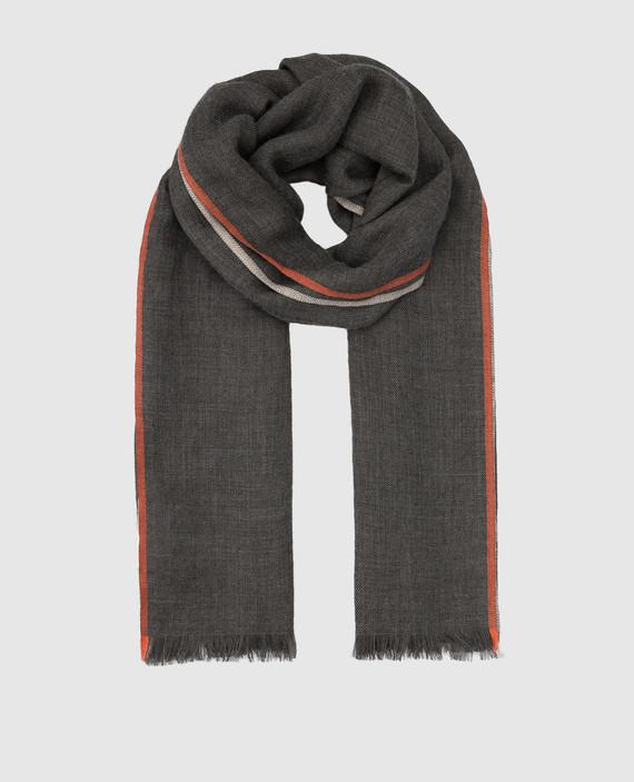 Серый шарф из кашемира и шелка