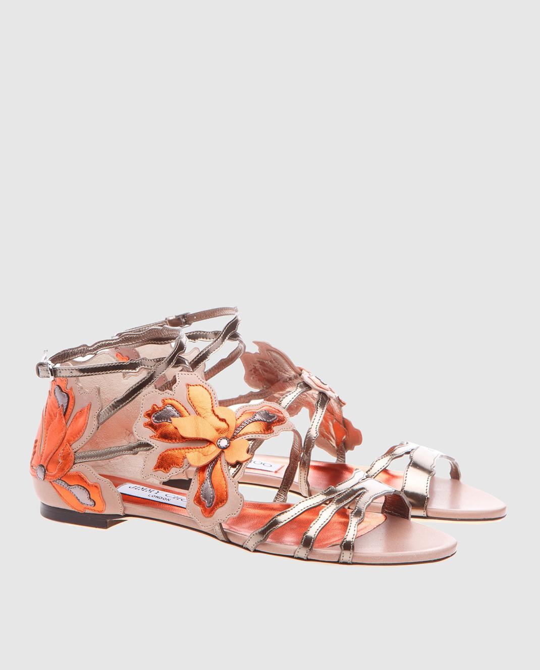 Jimmy Choo Золотистые кожаные сандалии Lolita LOLITAFLATMIV изображение 3