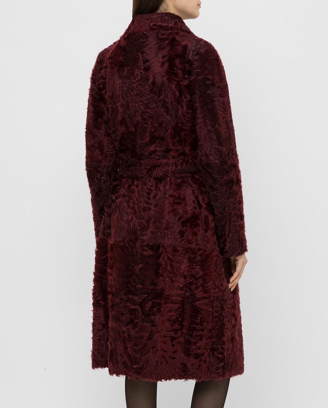 Giuliana Teso Бордовая шуба из меха ягненка 64K6210 изображение 4