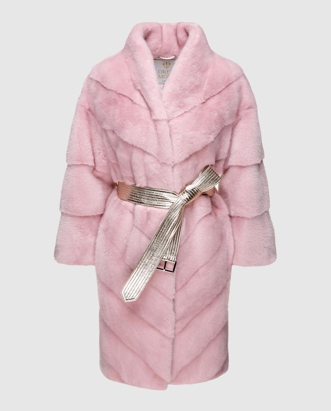 Florence Mode Розовая шуба из меха норки с поясом 18N139WHITE