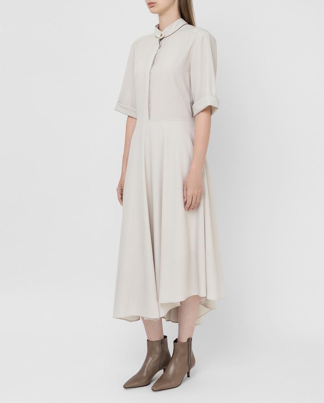 Brunello Cucinelli Светло-бежевое платье из шерсти изображение 3
