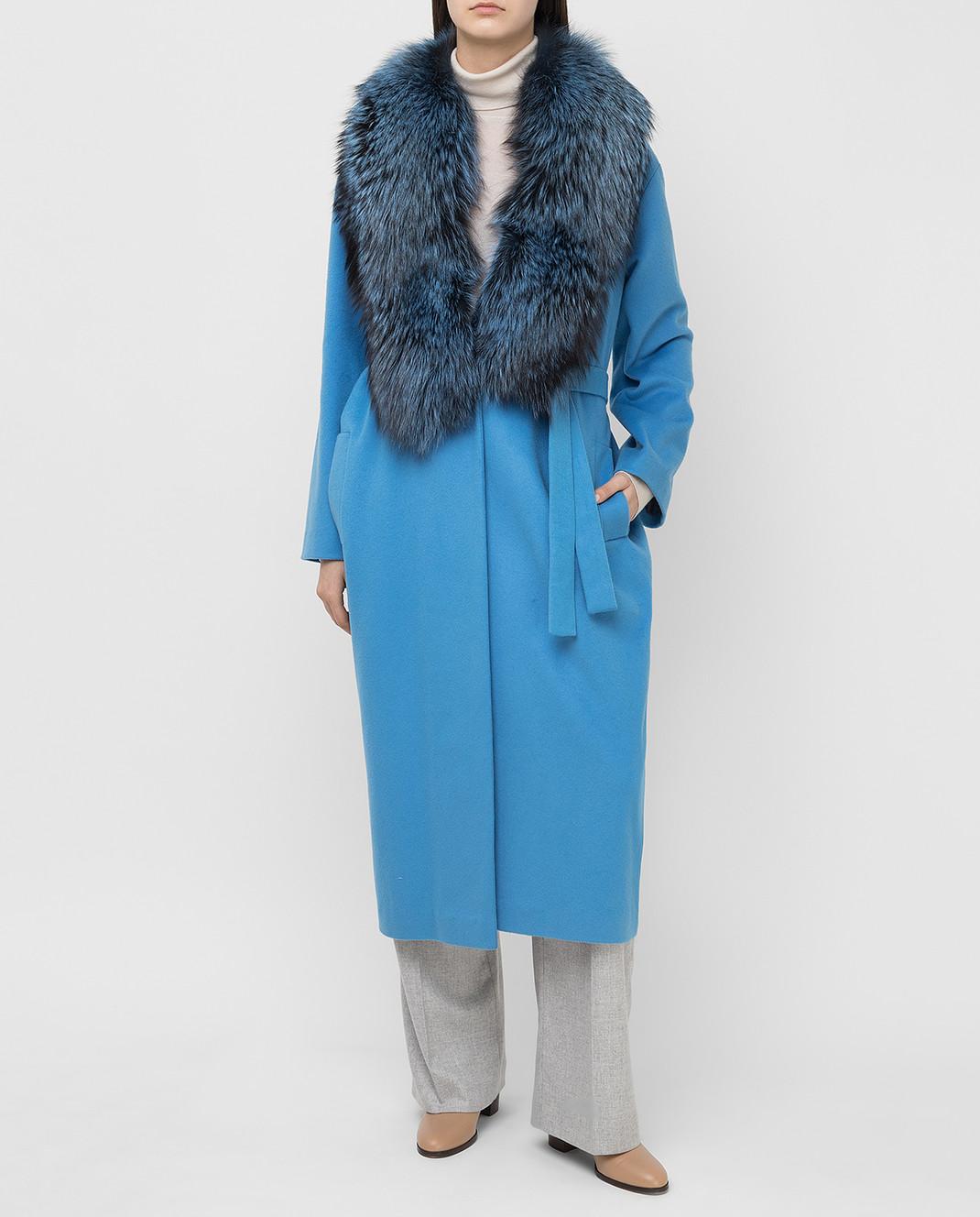 Via Cappella Голубое пальто из кашемира с мехом лисы C171418CASHMIR изображение 2
