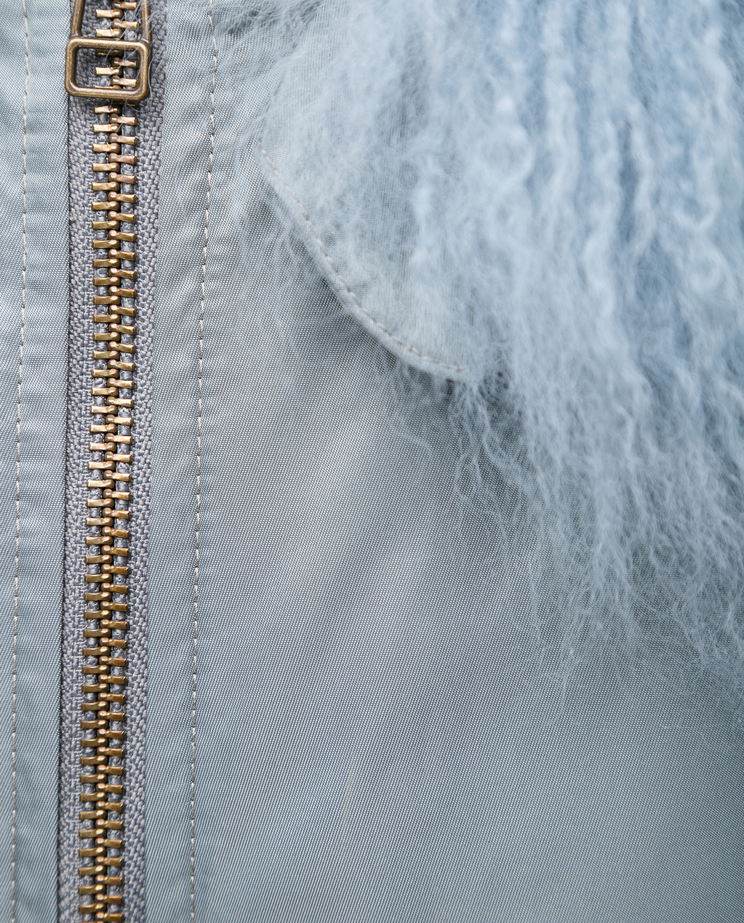 Mr&Mrs Italy Голубая парка с мехом тибетского ягненка изображение 5