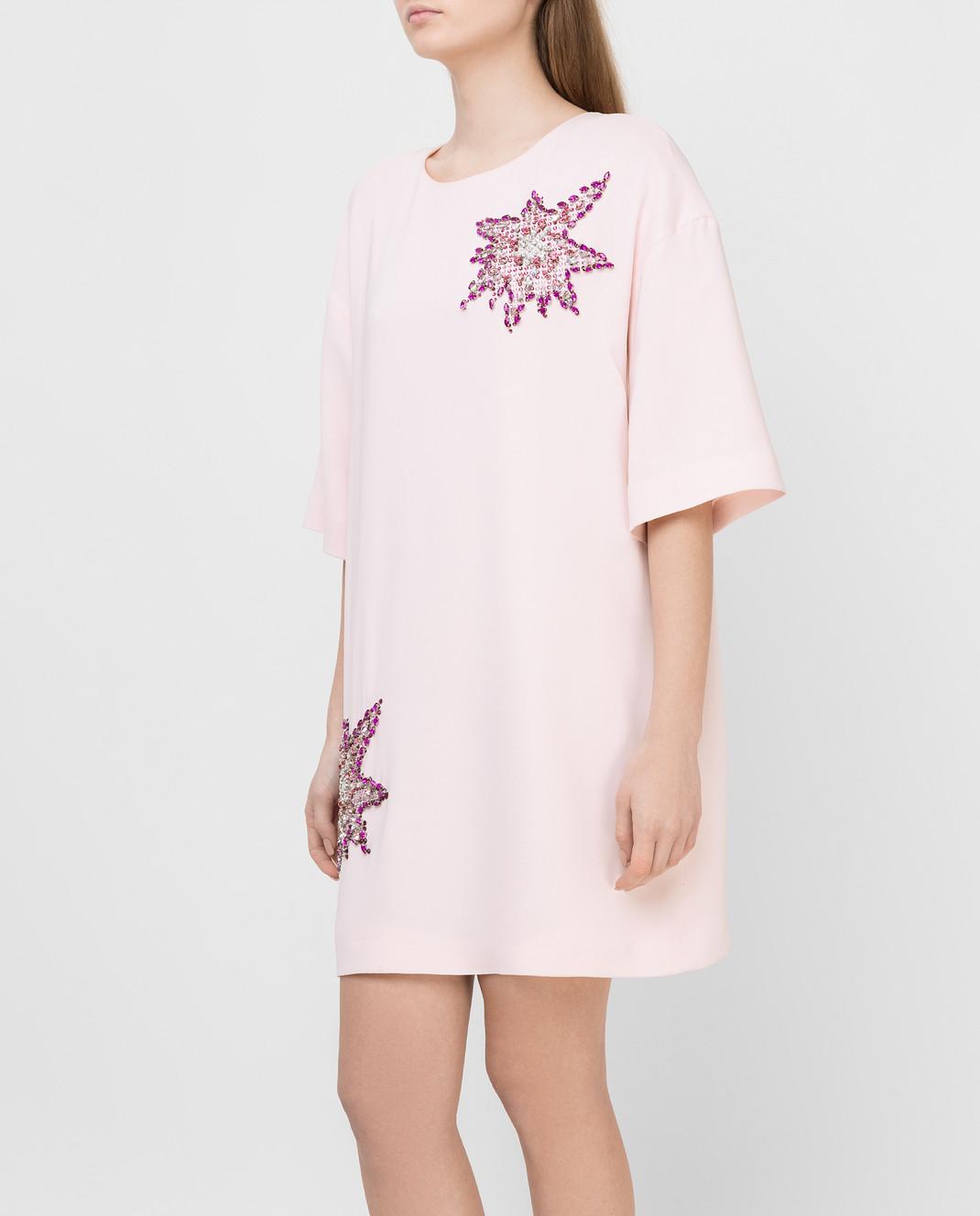 Philipp Plein Розовое платье с кристаллами CW440354 изображение 3