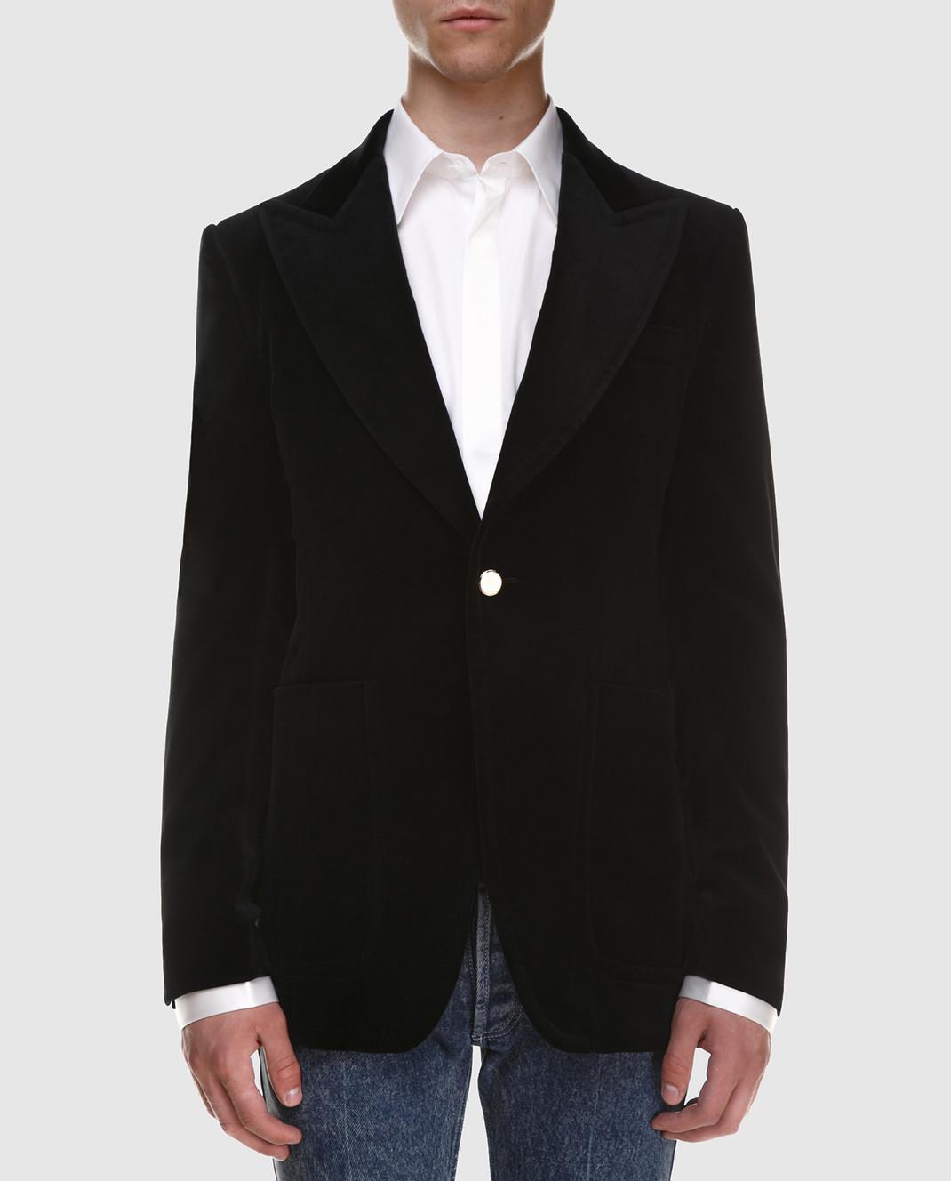 Gucci Черный бархатный пиджак изображение 3