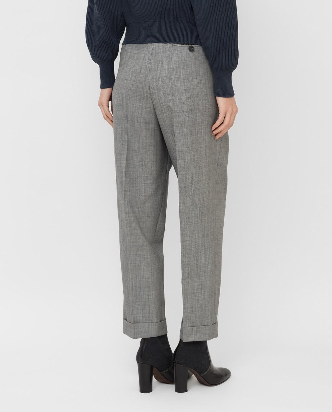Victoria Beckham Серые брюки из шерсти TRTPR2600B изображение 4