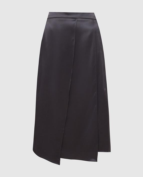 Темно-серая юбка из шелка