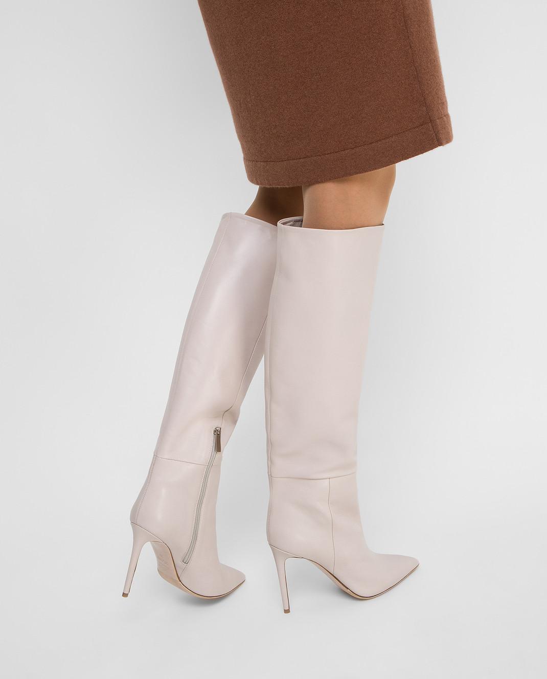 Babe Pay Pls Светло-бежевые кожаные сапоги изображение 2