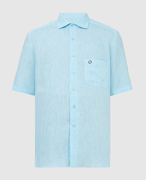 Голубая рубашка из льна