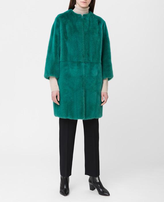 Зеленая шуба из меха норки hover