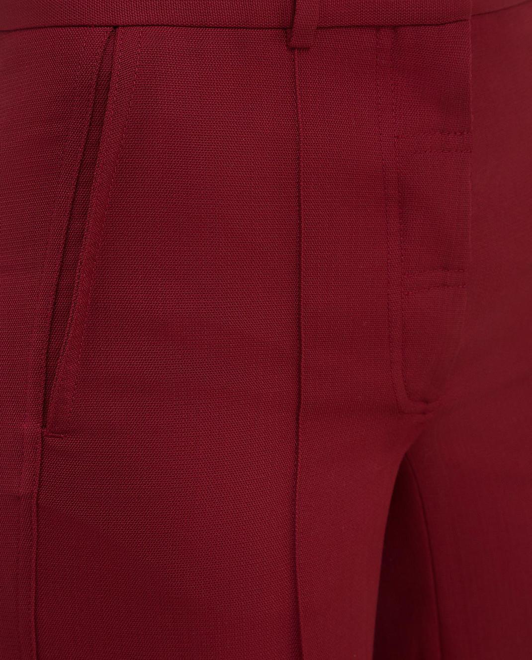 Victoria Beckham Бордовые брюки из шерсти TRWID2500D изображение 5