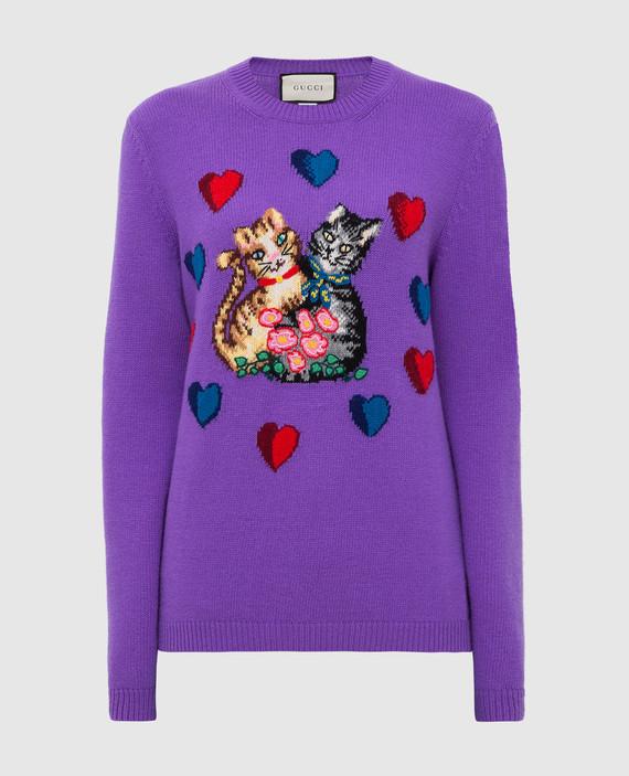 Фиолетовый свитер из шерсти