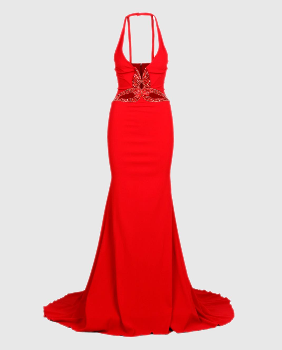 Roberto Cavalli Красное платье со шлейфом XPR184