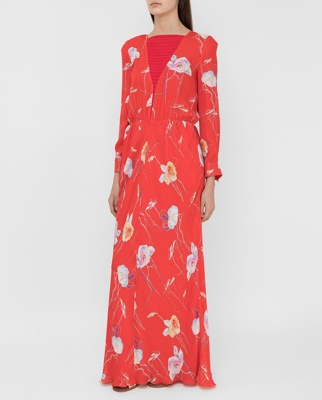 Armani Коралловое платье из шелка изображение 3