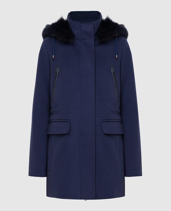 Синее пальто из шерсти
