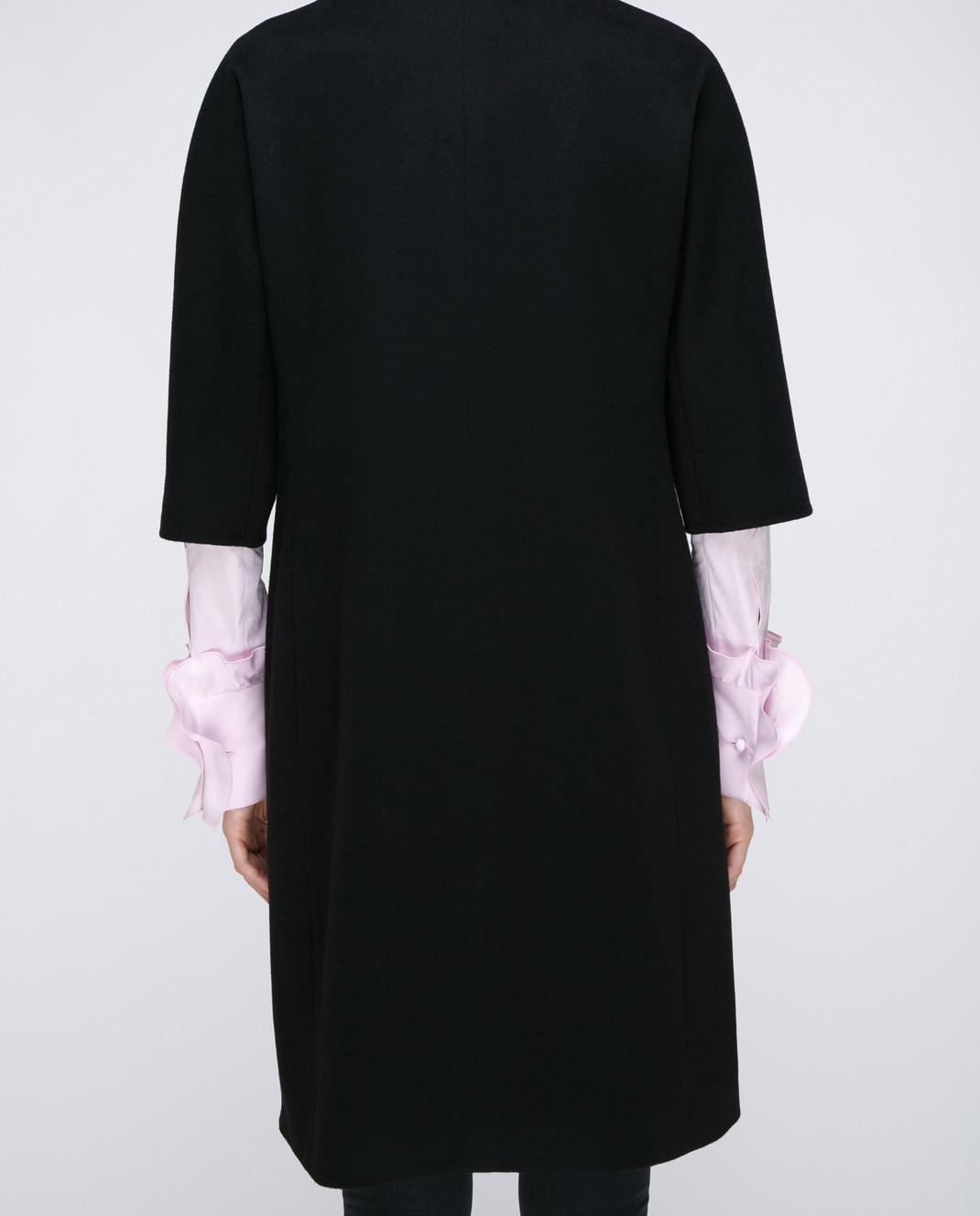 Heresis Черное пальто с меховыми деталями M9095RO изображение 4