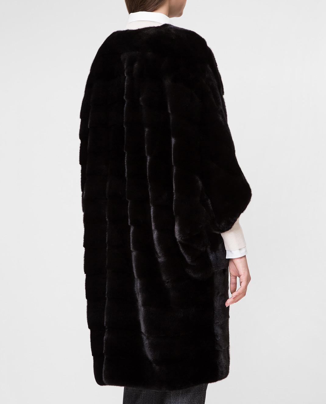 Real Furs House Черное меховое пальто TB923 изображение 4