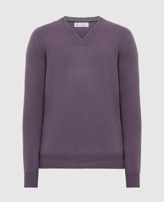 Фиолетовый пуловер из кашемира