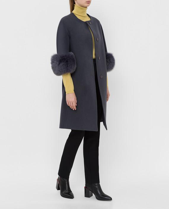 Темно-серое пальто из шерсти и кашемира hover