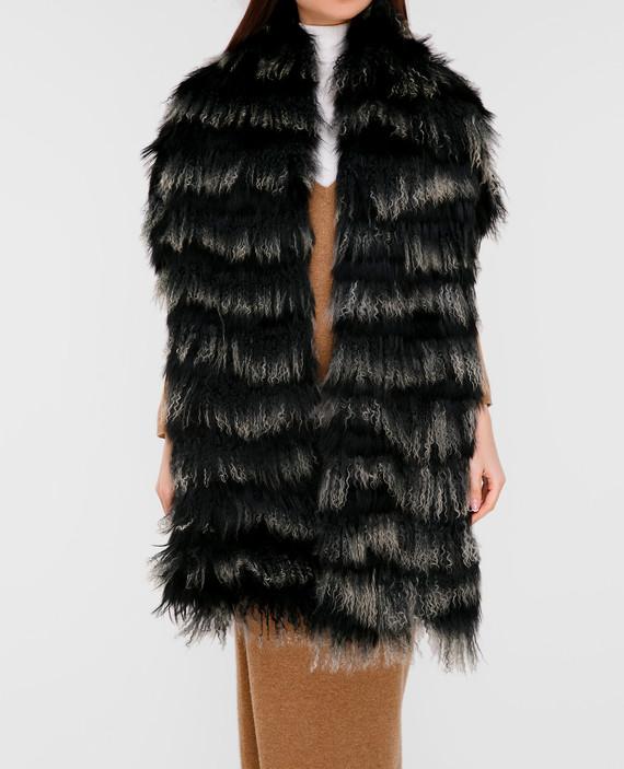 Черный шарф из меха мурмаски и ламы hover